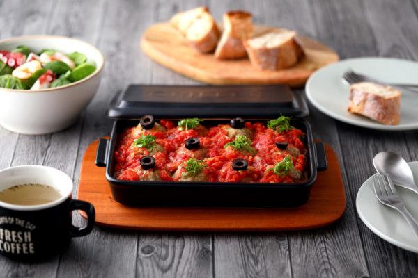 【基本のグリラーレシピ3】トマト煮込みミニハンバーグ