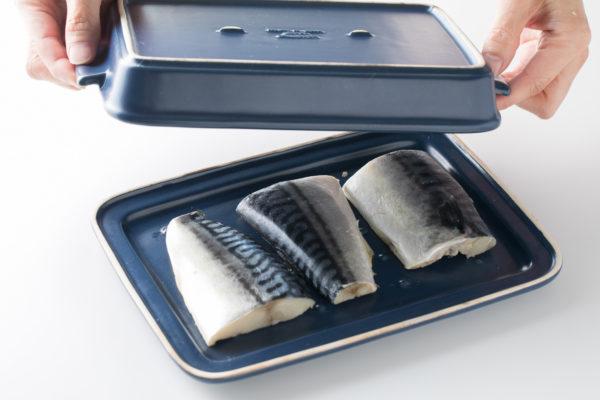 裏技的な使い方 グリラーの蓋に魚を乗せ上下さかさまに使用