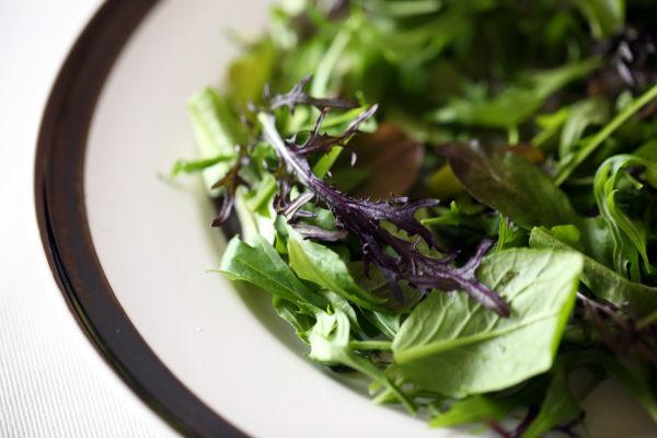 コストコの簡単ハンバーグの盛り付けのポイント3:紫色の野菜が入ると高級レストラン風になります