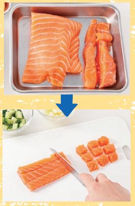 サーモンの切り方を写真で解説。薄い部分は小さく切ってちらし寿司に。