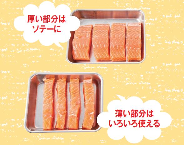サーモンの切り方その2.厚い部分は大きく切ってソテーに、薄い部分は小さく切ってアレンジを。