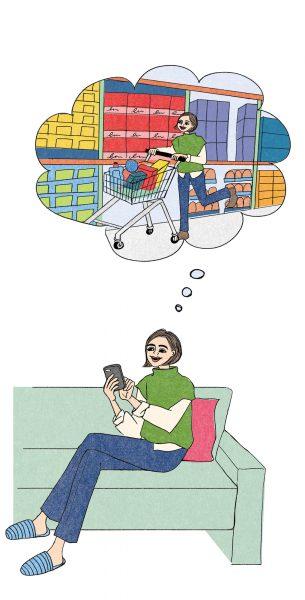 オンラインショッピングをしている女性のイラスト